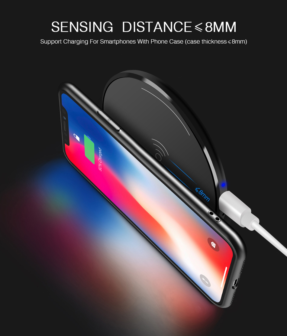 CinkeyPro Wireless Charger Charging Pad for iPhone 8 10 X Samsung S7 S8 5V:1A Adapter Charge Mobile Phone QI Device Universal 3