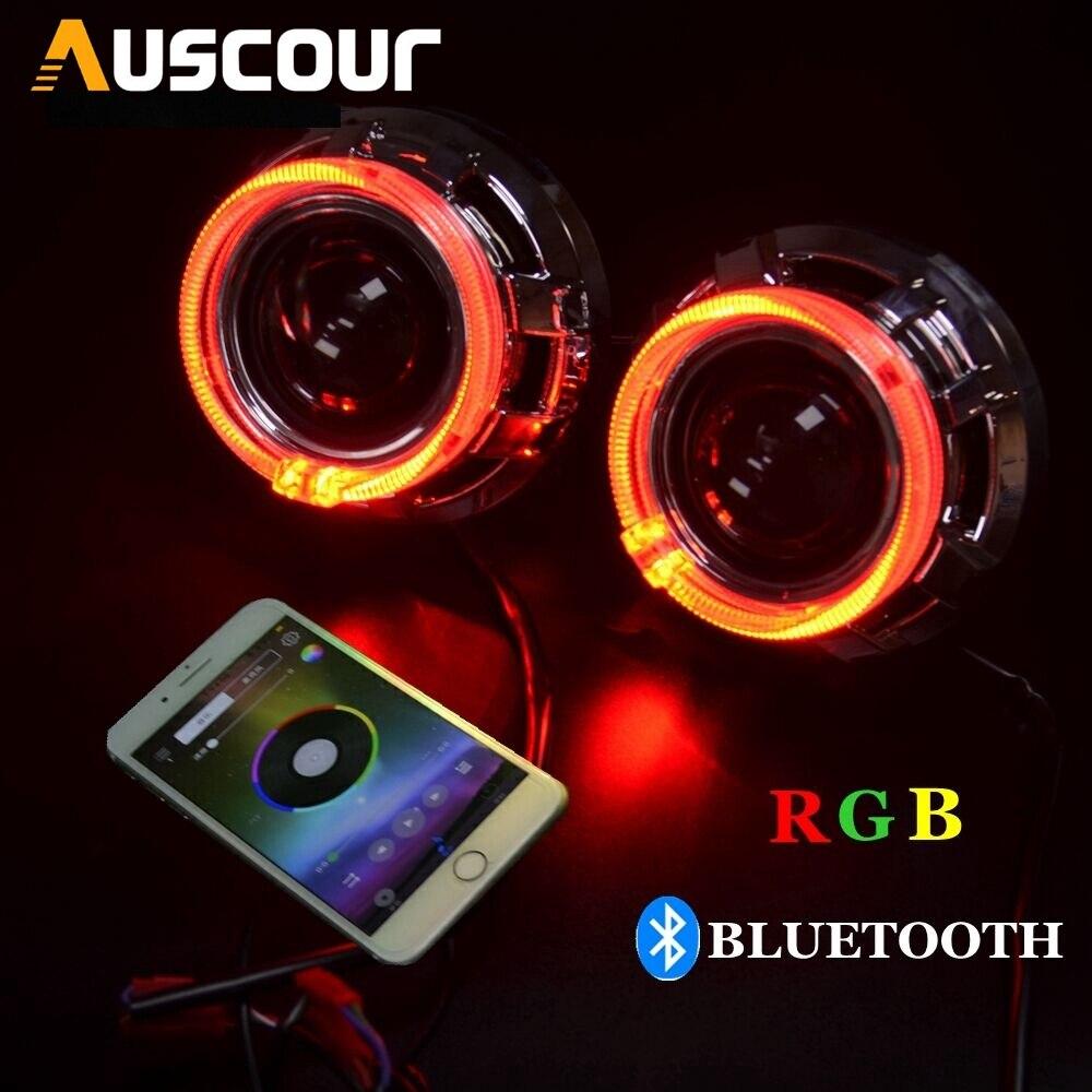 2 pcs 2.5 polegada bixenon lente do projetor do carro kit de montagem de automóveis com RGB angel eyes shrouds app Bluetooth hearlight H1 h4 H7 modificar