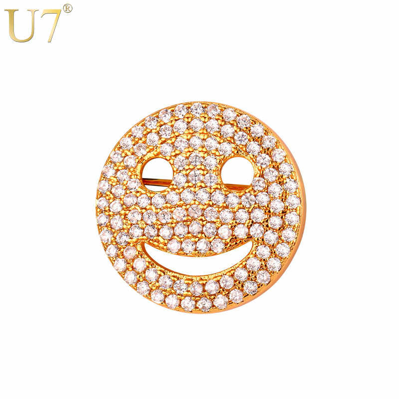 U7 Brand Smiley Face Pins For Women Gift Wholesale Gold/Silver Color CZ Crystal Zircon Smile Brooch 2017 Fashion Jewelry B121