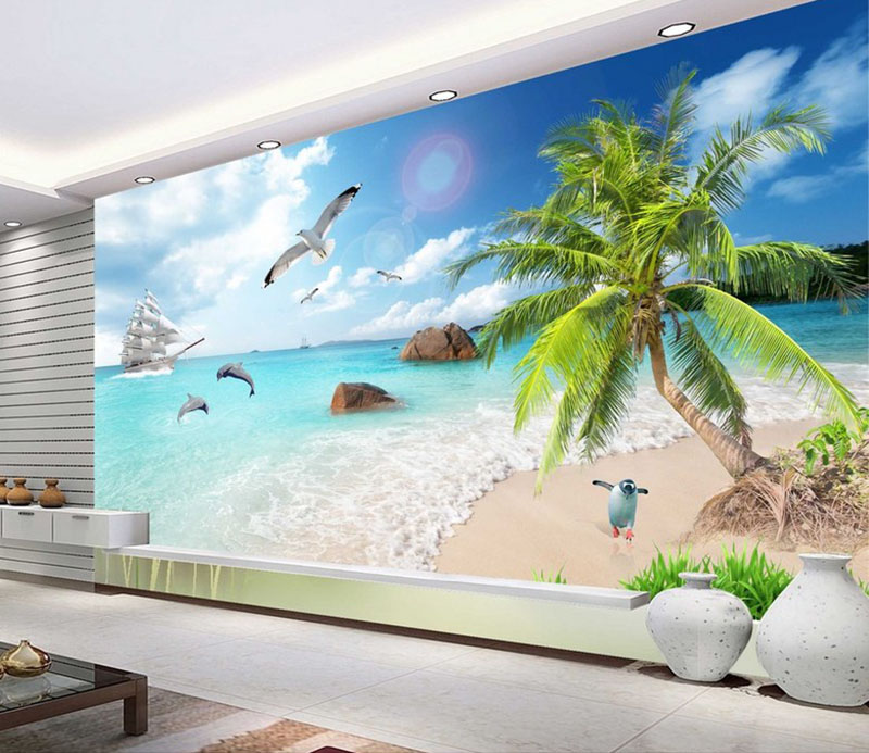 Custom 3D Sea View Coconut Beach WallPaper,3D TV Background Wallpaper Abstract Art Wallpaper Mural Home Decor For Living Room free shipping beach spray 3d dolphin sea floor non slip living room wallpaper office decoration studio wallpaper mural
