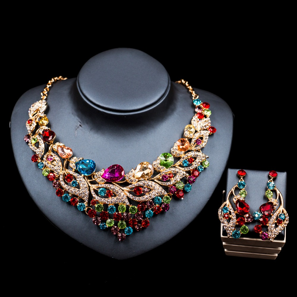 New Wedding Jewelry Sets Full Crystal Rhinestone Leaf Shape Necklace Earrings Sets For Women Party Bridal Jewelry Sets XY-GH69 new fashion multicolor crystal exaggerated flower shape necklace and earrings sets for women party bridal wedding jewelry sets