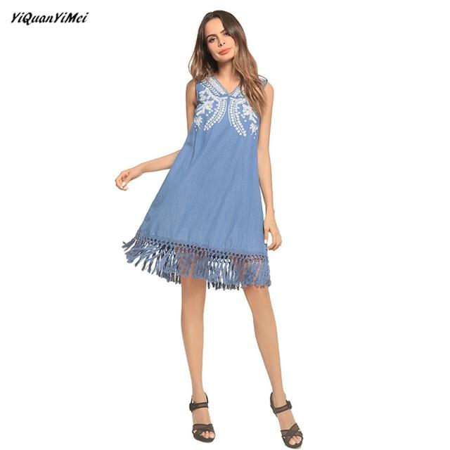Summer Loose Denim Dress Women Tassel Jean Dress Plus Size Party
