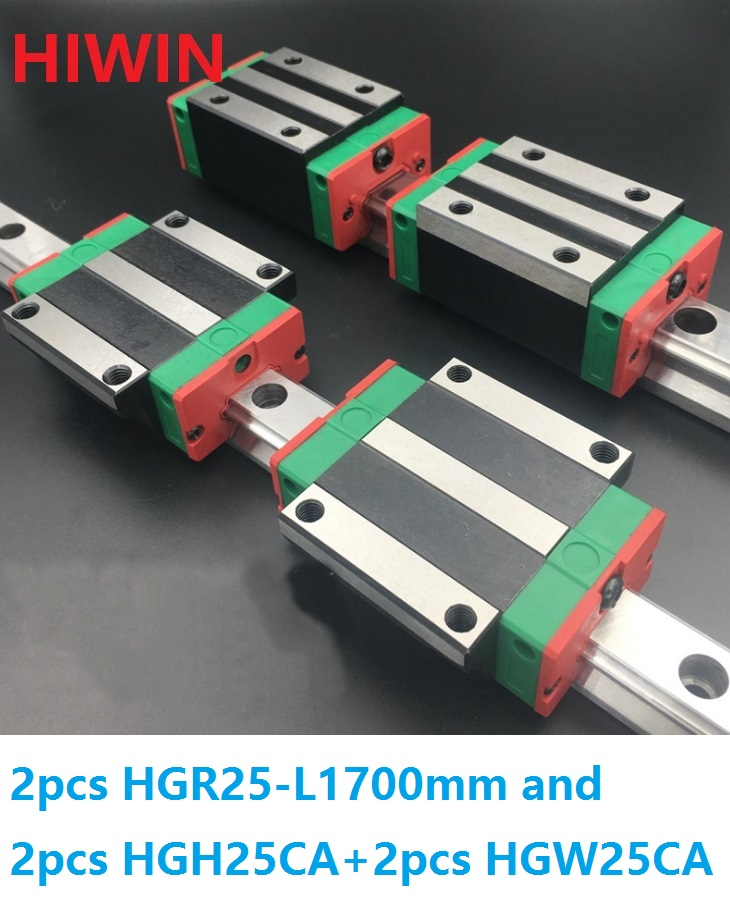 2pcs 100% original Hiwin linear guide linear rail HGR25 -L 1700mm + 2pcs HGH25CA and 2pcs HGW25CA/HGW25CC block for CNC hiwin taiwan made 2pcs hgr25 l 600 mm linear guide rail with 4pcs hgh25ca or hgw25ca narrow sliding block cnc part