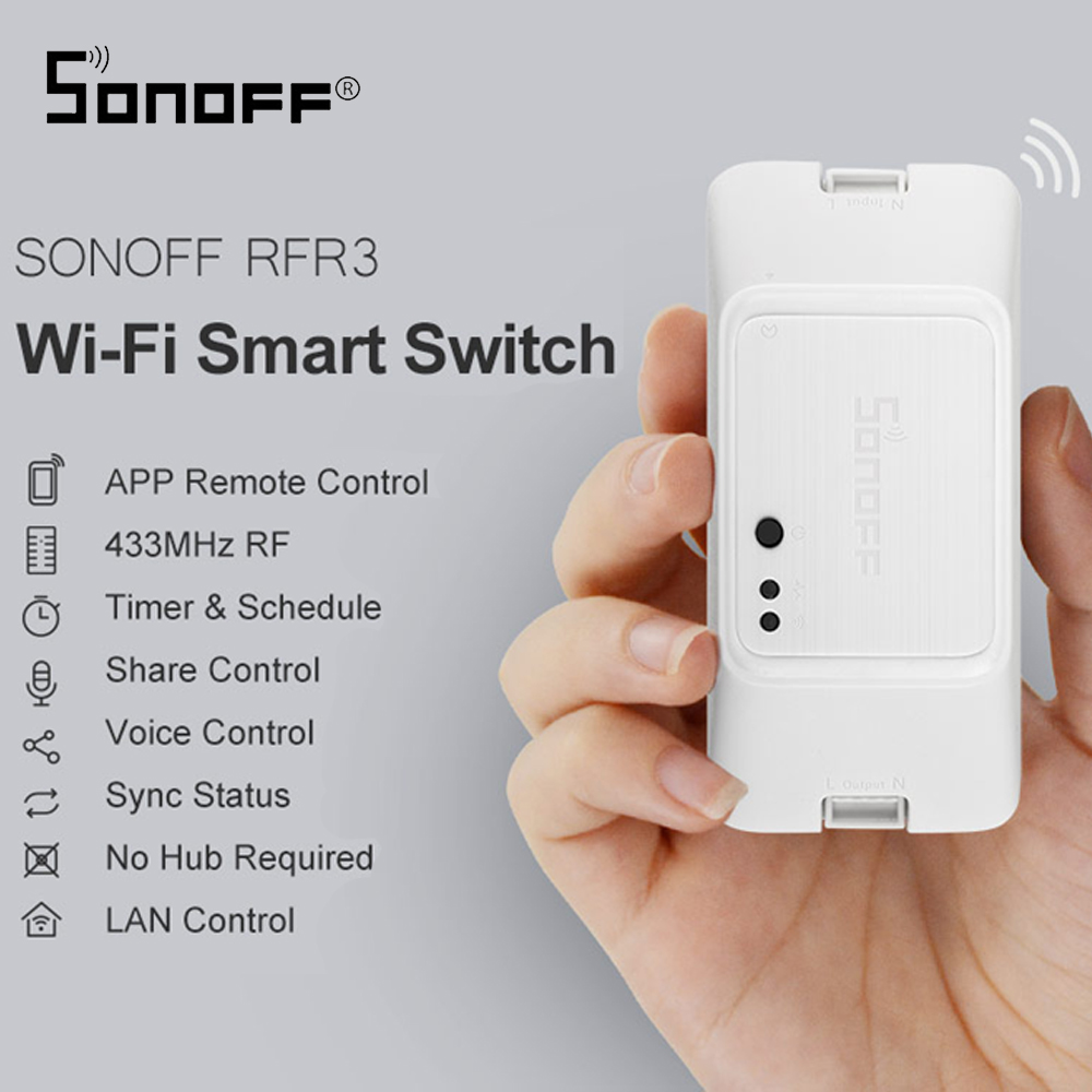 SONOFF RFR3 DIY wifi remote smart RF control switch work with Alexa/Google Home Assistant Smart Home Automation Module DIY Timer