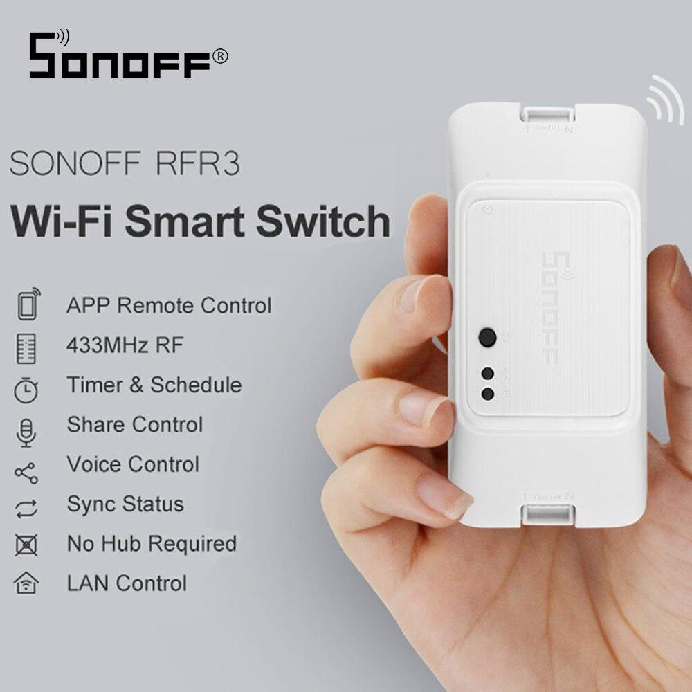 SONOFF RFR3 bricolage wifi commutateur de commande RF intelligent à distance travail avec Alexa/Google Assistant à la maison Module domotique intelligent bricolage minuterie