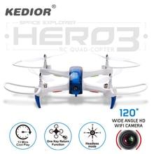2017 Nueva Hero3 Rc Drone con Cámara WiFi HD 720 P Transmisión en tiempo Real FPV Quadcopter 2.4G 4CH Dron RC Helicóptero Quadrocopter