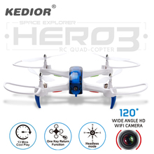 Новинка 2017 года Hero3 Радиоуправляемый Дрон с Wi-Fi Камера HD 720 P в режиме реального времени передачи FPV Quadcopter 2.4 г 4CH RC Вертолет Дрон Квадрокоптер