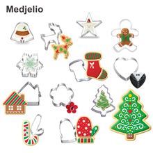 Medjelio 12pcs Christmas Cookie Cutter Cut Candy Biscuit Mold Trees Cooking Tools Metal Cutters Mould Cake Decorating Tools