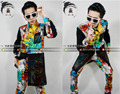 2016 new Fashion trends graffiti stitching leather clothes shirt suits, Nightclubs male singer DJ Men stage costumes