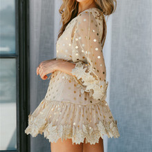 FREE SHIPPING !! Vintage Dot Lace Dress Casual Sexy Party Mini Dress JKP957