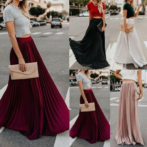 2019 Vintage Skirts Womens Chiffon Mesh High Waist Solid Color Long Maxi Skirts Pleated Half Length Beach Skirts Autumn Womens