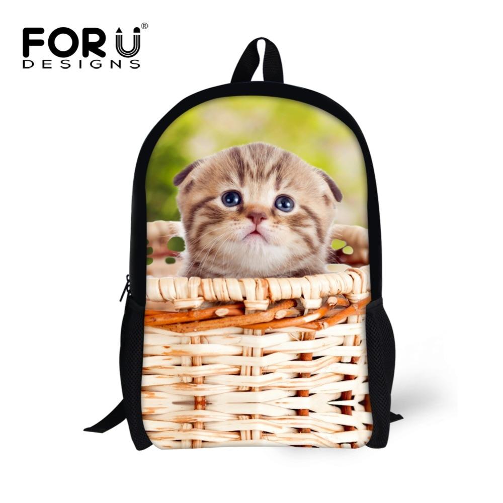 Милый кот собака печать ранцы для детей Дети животных школьная сумка для девочек-подростков школа книга сумки Mochila Escolar