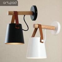 Artpad Nordic Wall lamp Bedside Lamp Black White Metal Sconces E27 LED Modern Corridor Wall Lights for Home Living Dining Room