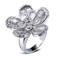 Hot Sprzedam Kobiety Deluxe Złoty kolor Kwiat Pierścień AAA Cyrkonia pierścień 101 sztuk CZ Wspaniała Biżuteria Alergia Darmo Ołowiu i Niklu bezpłatne
