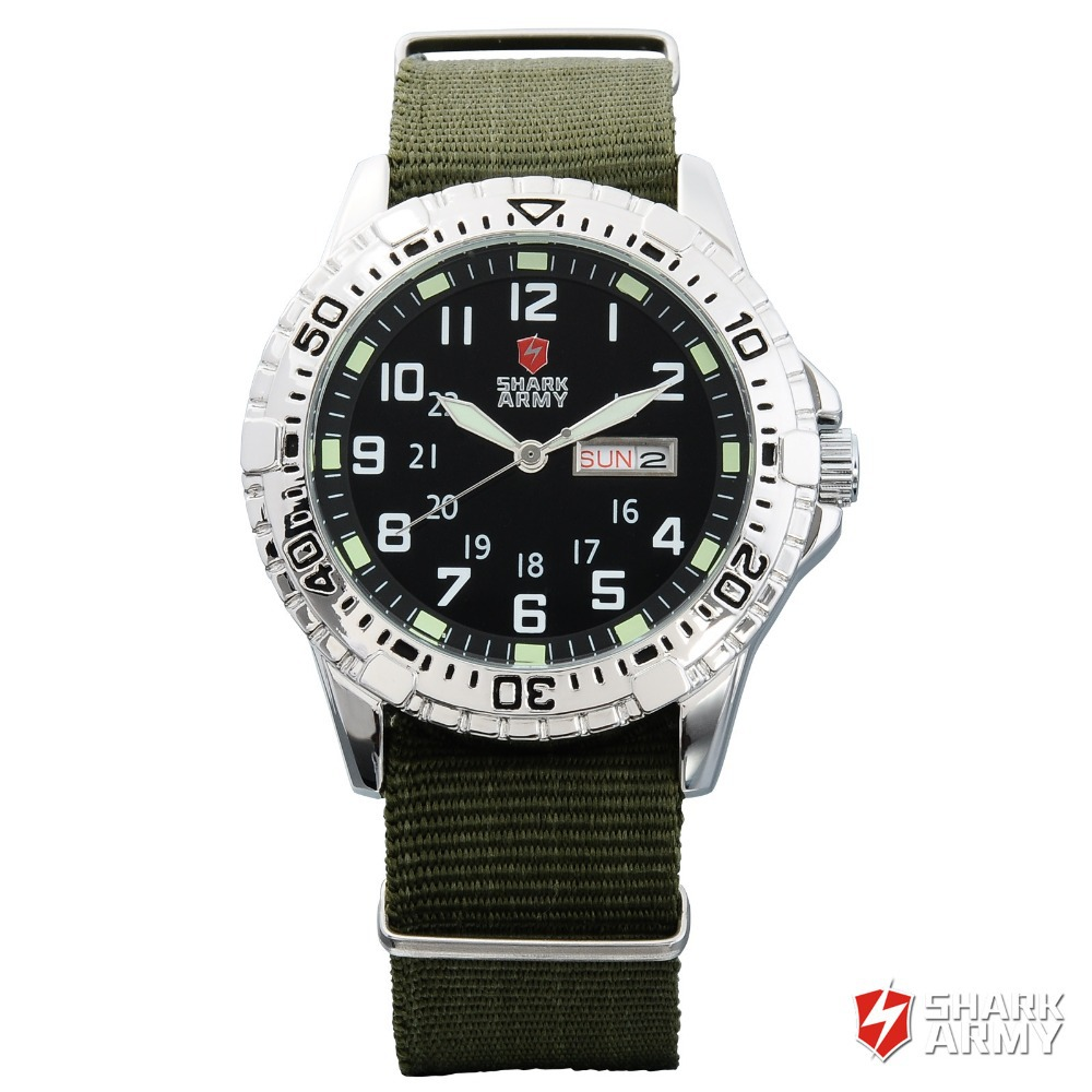 SHARK ARMY Men Green Nylon Band Date Day Display Stainless Steel Rotating Bezel Quartz Wristwatch Military Sport Watch / SAW019 shark army brand new auto date day display leather band relogio analog montre homme men quartz sport military wristwatch saw122