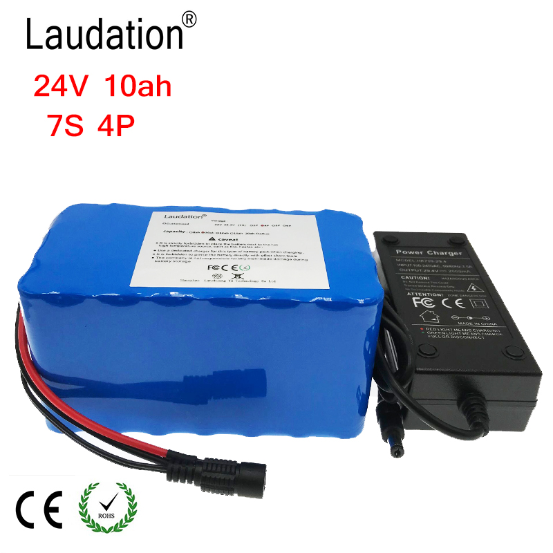 laudation 24V <font><b>10ah</b></font> electric bicycle lithium battery <font><b>29.4V</b></font> <font><b>10ah</b></font> 18650 battery pack for 250W 350W electric motorcycle with 15A BMS image