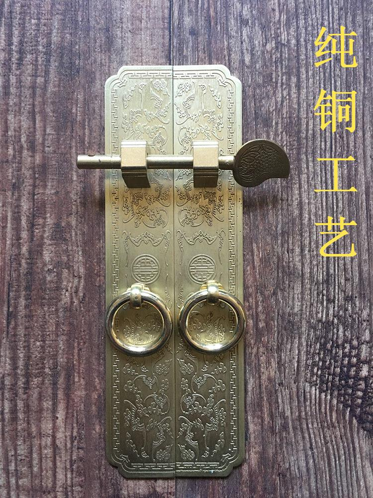 Chinese antique furniture accessories top cabinet wardrobe door handle copper handle / Bat straight handleChinese antique furniture accessories top cabinet wardrobe door handle copper handle / Bat straight handle