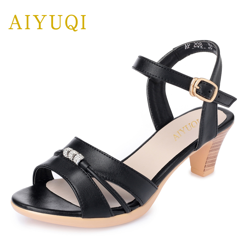 AIYUQI New women's shoes for the summer leather sandals square heel big size 41#42#43#Open-toe platform roman sandals female aiyuqi big size women shoe 41 42 43 2018 new women s sandals genuine leather casual comfort wedges open toe roman sandals female