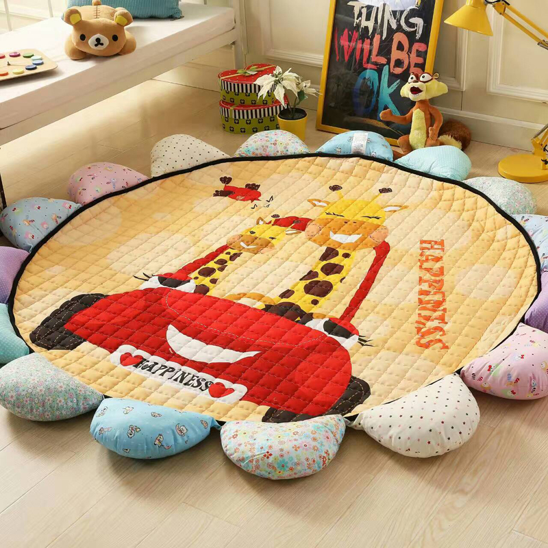 Sunflower Floor Rugs Non-slip Baby Play Mat Floor Rug Kid Game Carpet Baby Crawling Carpets Baby Rugs Diam 1.8 Round Floor Mats sand shell starfish pattern floor area rug