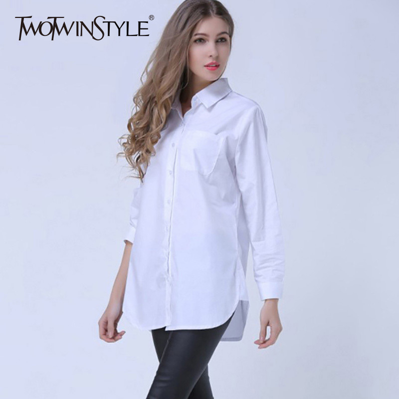 TWOTWINSTYLE Basic Shirt Tops Female Striped Long Sleeve Plus Size White Blouse For Women Spring Summer 2018 Fashion OL Clothing 2