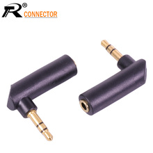 L Shape Gold-plated Connector 3.5 jack Right Angle Female to 3.5mm 3Pole Male Audio Stereo Plug  Jack Adapter