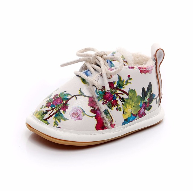 Hot sell super warm PU leather with fur winter baby shoes lace up floral  printing baby moccasins toddler girls boys snow boots ed31c0a60c92
