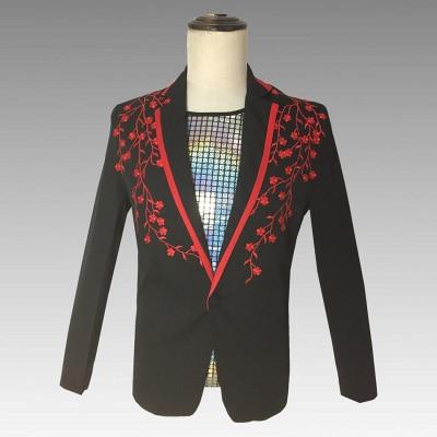 Стимпанк Мужская Цветочная дизайнерская вышитая куртка с длинным рукавом с v-образным вырезом