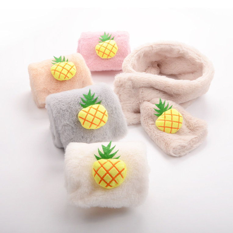 Cute Pineapple Scarves For Girls Imitation Cashmere Faux Fur Winter Warm Scarf For Children Christmas Gifts Apparel Accessories