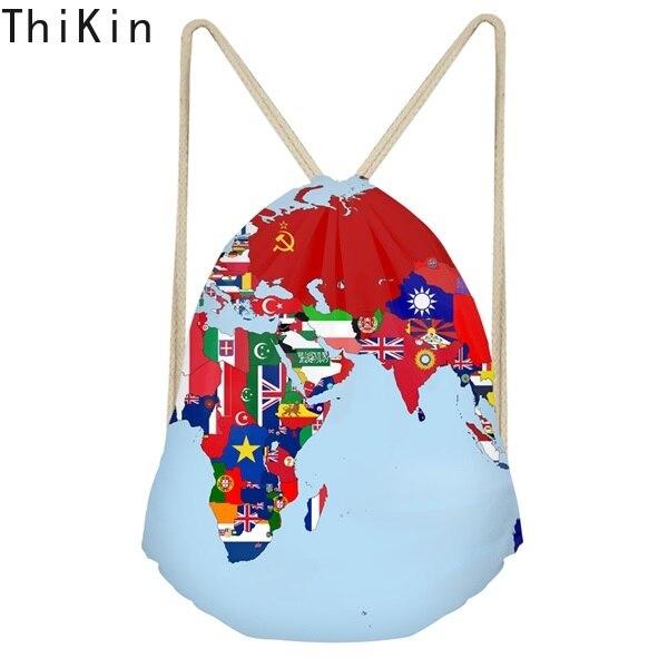 THIKIN Cartoon 3D World Map Print Drawstring Bag For Boys Girls School Students Backpacks Large Softback Fashion Travel Sack Bag