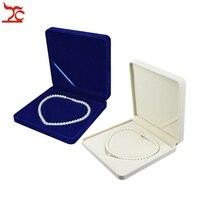 Fine Lady Jewelry Display Case Blue Velvet Pearl Necklace Present Case Beige Bead Necklace Storage Display