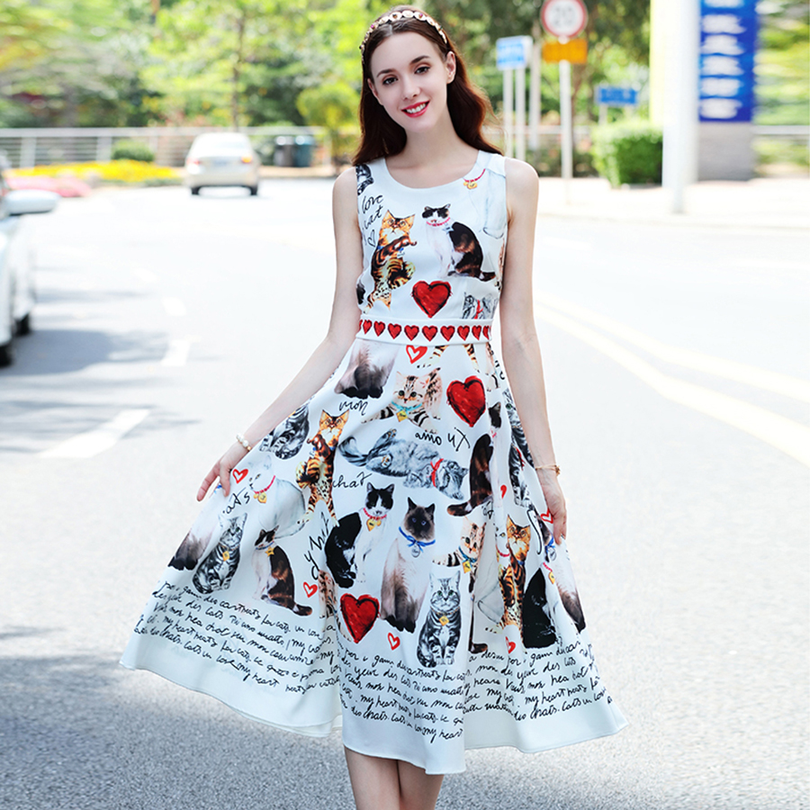 Woman Casual Dress 2019 Summer New Fashion Red Heart Cat Letter Print O Neck Sleeveless Mid