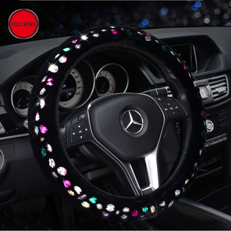 Luxury font b Car b font Winter Soft Plush Steering Wheel Cover with Full of Shiny