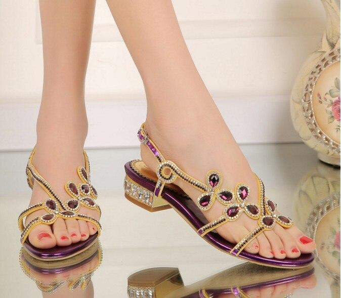 34423cdf1c6 big size 34 44 women gladiator rhinestone flowers flat low heel sandals rome  female summer comfortable crystal casual sandalias-in Women s Sandals from  ...