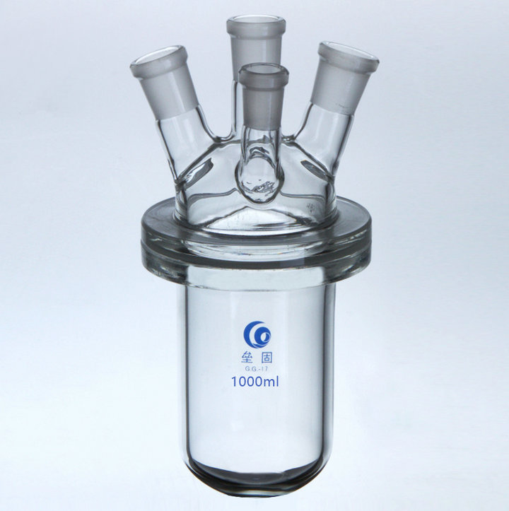 500ml/1000ml/2000ml Medical grade Boro. glass 4-neck glass barrel-shaped flask reactor, Flask reactor with four mouths for Lab 500ml cell tissue glass culture flask with bevel screw cap angled neck