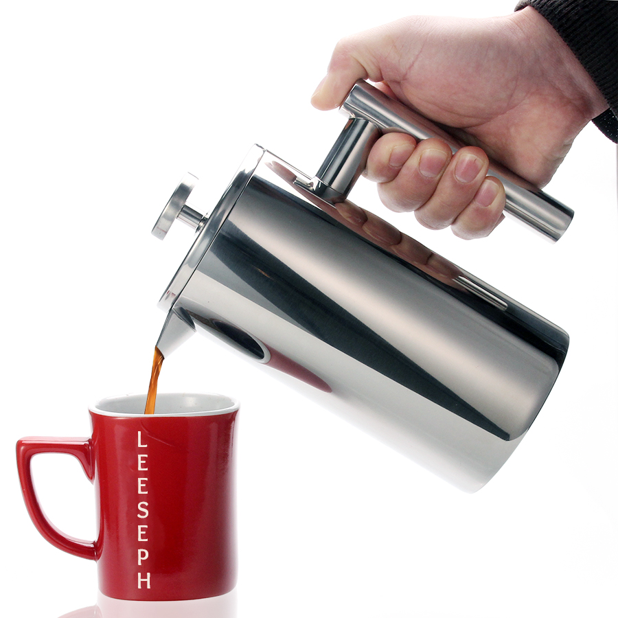 Stainless-Steel Coffee-Drinkware French-Press Brewer Heavy-Duty Double-Wall-1liter 18/10 title=