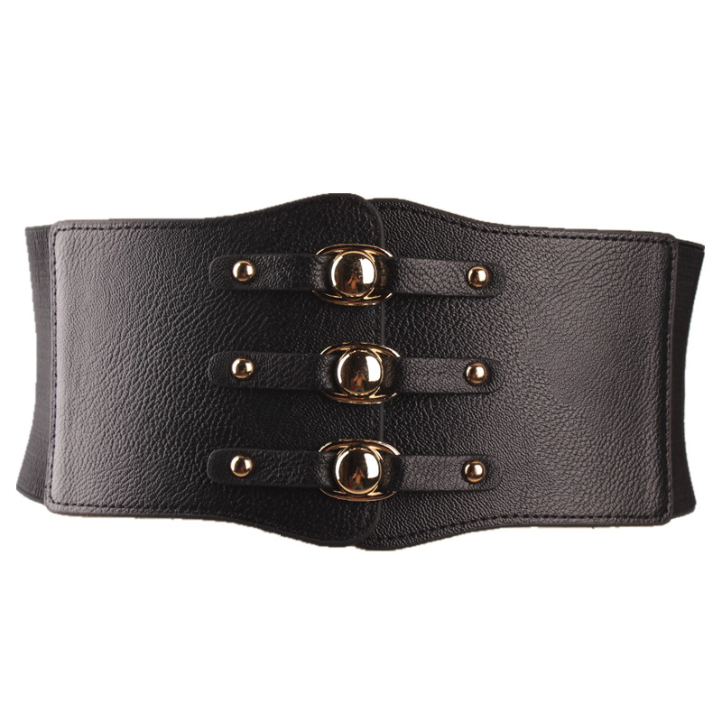 New Fashion Lady Red Waist Belt Extra Wide Corset Gold Metal Ring Dress Cummerbund Black PU Leather Elastic Waistband For Dress