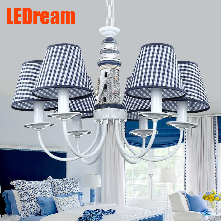 The new lighthouse Mediterranean droplight The boy bedroom blue LED lamps  European children room lamp, wrought iron style the lighthouse the children room that the mediterranean is adjustable light shape creative study adornment lanterns a bed boy