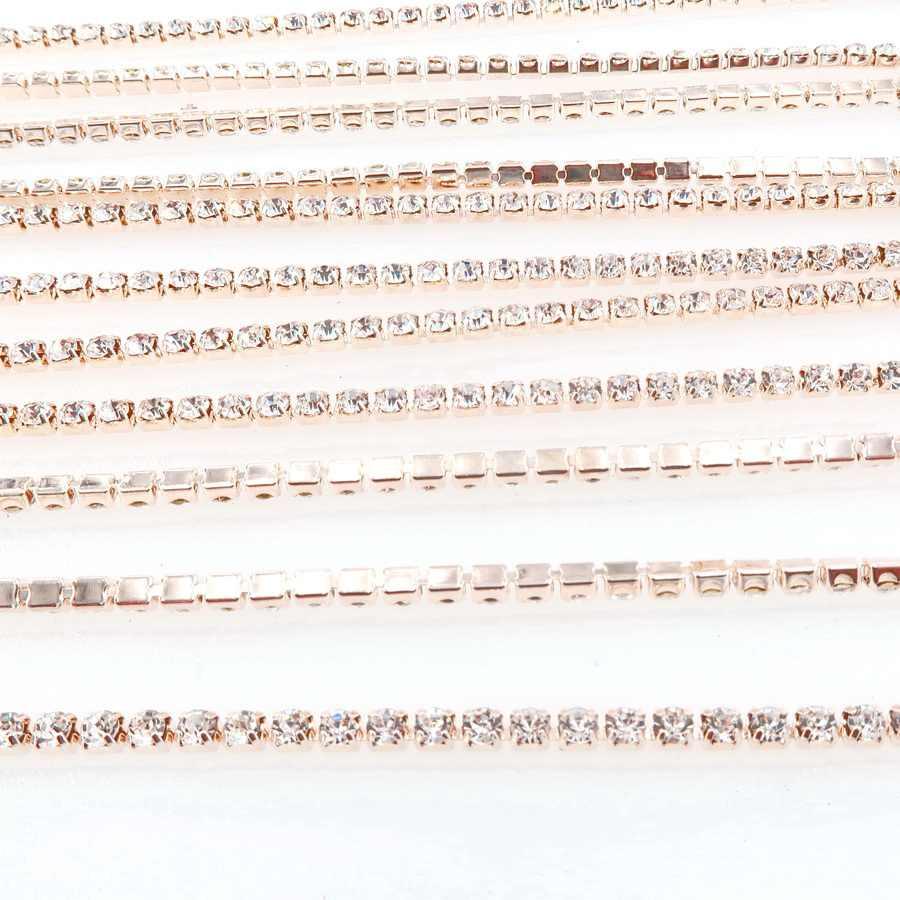 5 ярдов/рулон прозрачный горный хрусталь цепь шампанское золото база коготь 2 мм 2,5 2,8 3 4 высокой плотности пришить клей на отделкой аксессуар