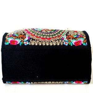 Image 2 - Bolsa feminina de lona, bolsa de ombro bordada floral étnica vintage de mensageiro