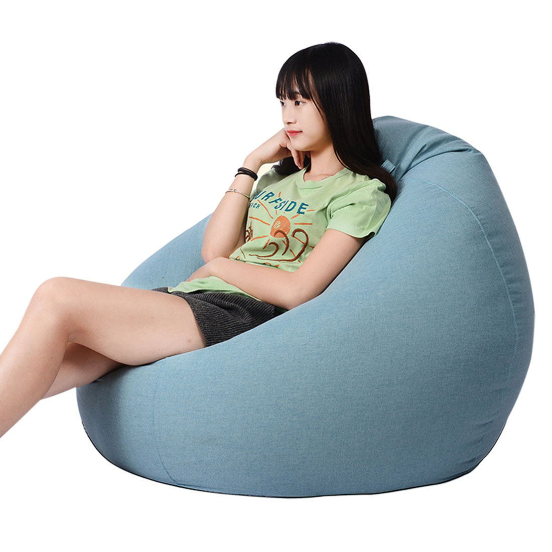 Adults Kids Bean Bag Chair Sofas Living Room Lounger Bean Bags Sofas Chair Bedroom Lazy Sofas Living Room Soft Bean Bags S/M/L