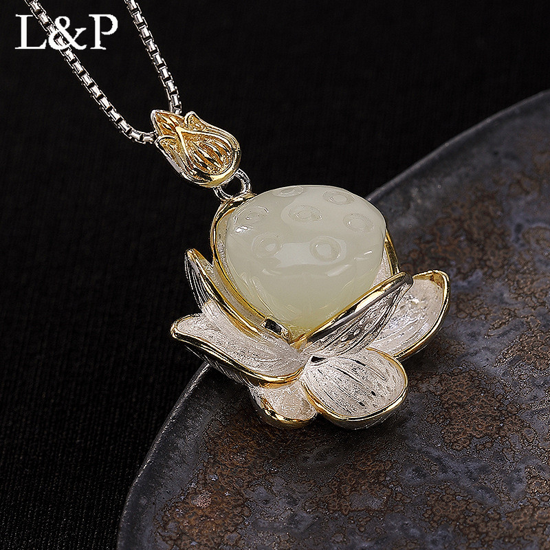 Real Natural Jade Lotus Pendant Necklace For Women Elegant & Luxury Real 925 Sterling Silver Necklace Fine Jewelry 2018