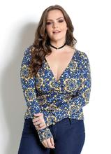 Plus Size Women Clothing Large Floral Printed Shirt Deep V Women Blouse Big Size Tops 5XL 6XL