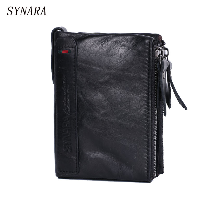 SYNARA Brand men wallets dollar price purse Genuine leather wallet card holder designer clutch business mini wallet high quality