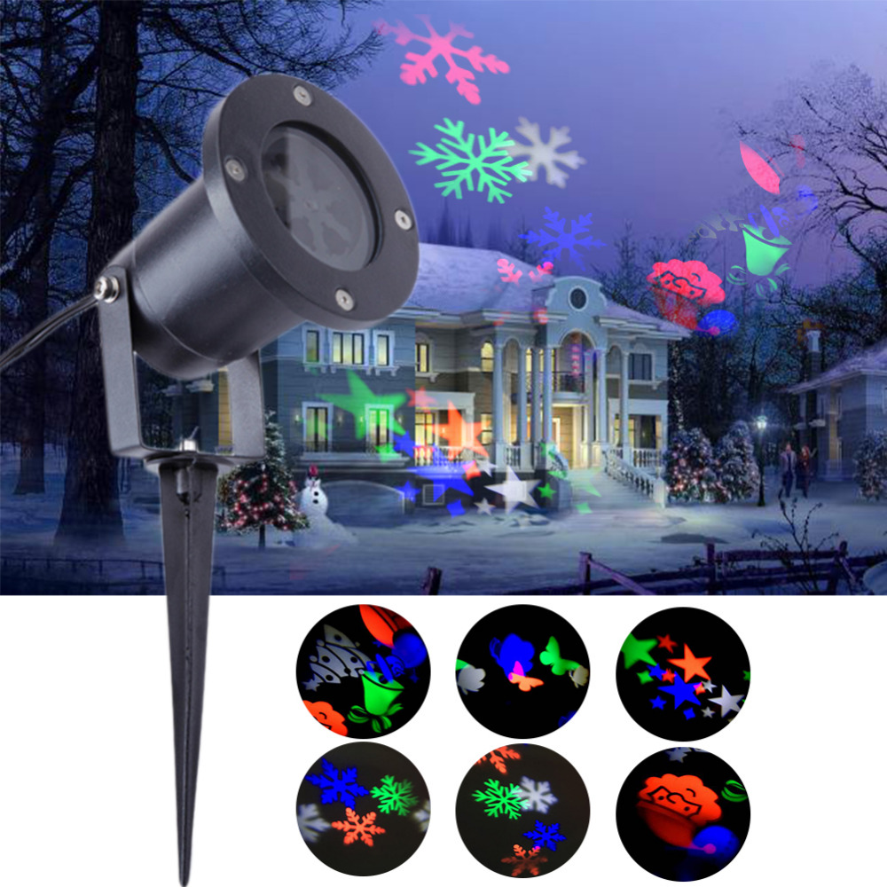 Christmas Double Hole LED Projection Lamp Lawn Outdoor Waterproof Snowflake Light Halloween Christmas Festival Projection Lamps