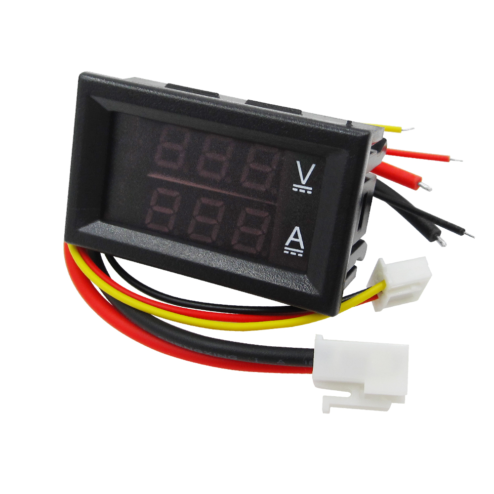DC 0-100V 10A Digital Voltmeter Ammeter Dual Display Voltage Detector Current Meter Panel Amp Volt Gauge 0.28 Red Blue LED