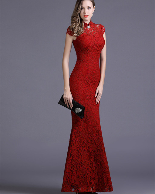 Red Black Silm Outside Party Women Maxi Dress Traditional Chinese