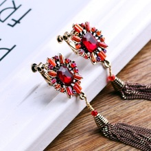 luxurious long statement crystal tassel earrings for women Vintage flower metal red korea geometric
