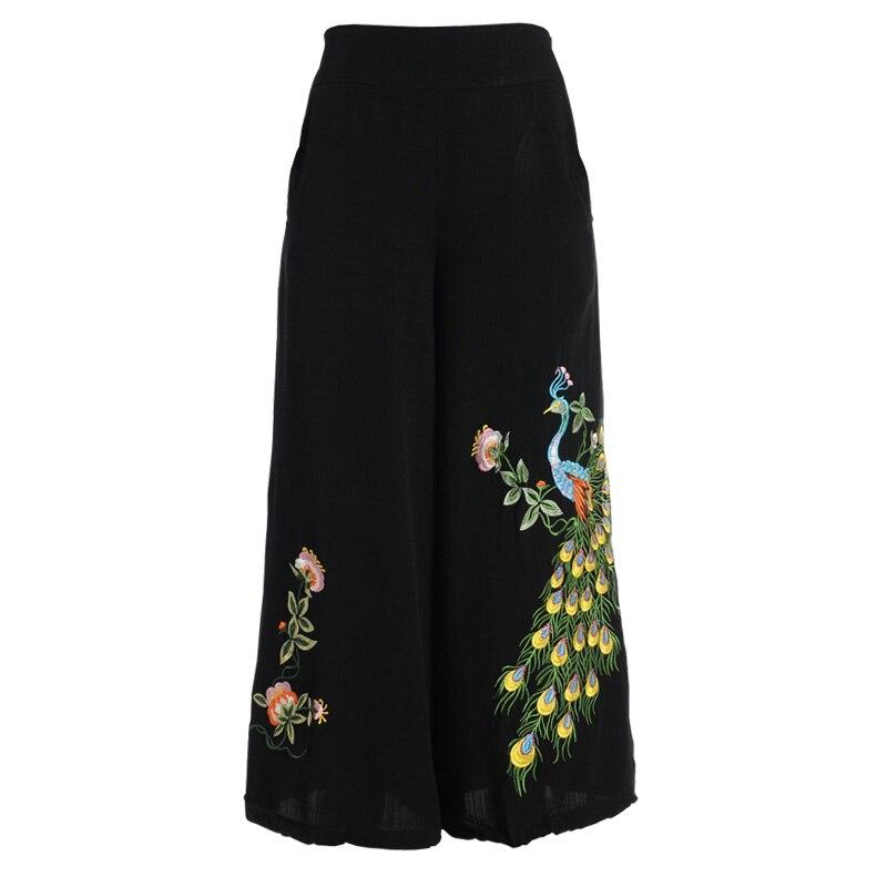 Nueva Real Tamaño Jnb0802 De Más Negro Capris Pavo Elástico Bordado Moda Cintura Para Pierna Pantalones Algodón Línea Casual Ancha Las Mujeres n0qTxawR