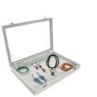 Gray/Grey Velvet Earrings Ring Bracelets Organizer Ear Studs Jewelry Glass Display Showcase Plate 35*24*4.5cm(L*W*H)