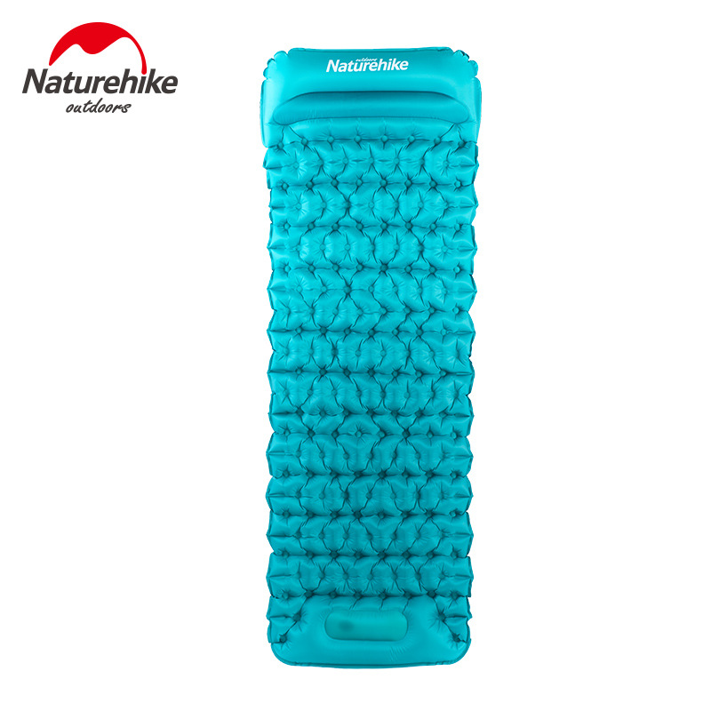Naturehike Hand Press Inflatable Camping Mattress With Pillow Fast Filling Air Moistureproof Mat Sleeping Pad 3 Colors naturehike camping mat outdoor inflatable cushion fast filling air moistureproof camping mat with pillow sleeping pad 460g